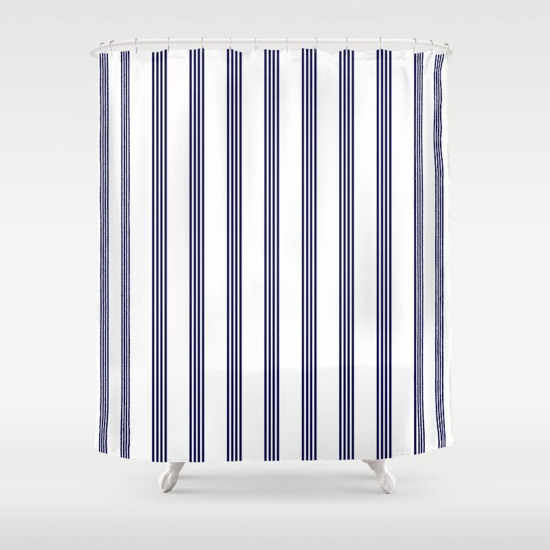 Blue White Stripe Stripes Marine Maritime Navy Sea Beach Summer Sailor Shower Curtain