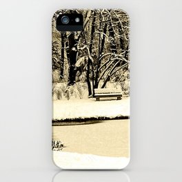 Winter scenery in a park iPhone Case