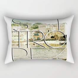 St. Tropez village and text Rectangular Pillow