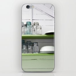Rustic Kitchen with White Shiplap and Greenery Shelves with Vintage Blue Jars iPhone Skin