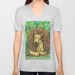 Lion and Cub Unisex V-Neck