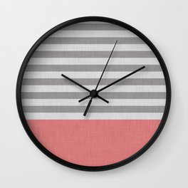 Peachy and gray stripes and color block Wall Clock