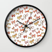 bows Wall Clocks featuring Bows by Jen Gottlieb