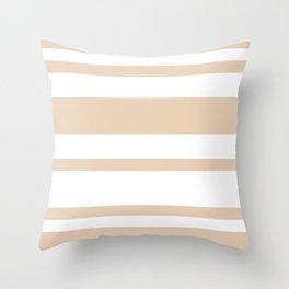 Mixed Horizontal Stripes - White and Pastel Brown Throw Pillow
