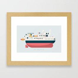 Minimalist Jacques Cousteau's Research Vessel Calypso Framed Art Print