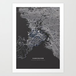 Vancouver city map Art Print