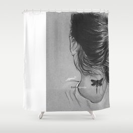Lauren Jauregui Dragonfly Tattoo Sketch Shower Curtain