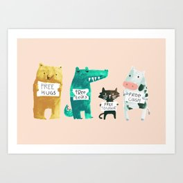 Animal idioms - its a free world Art Print