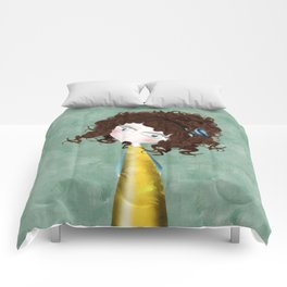 Sage Green Watercolor Art Comforters