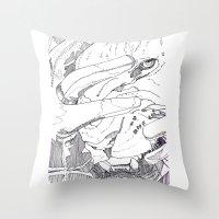 introvert Throw Pillows featuring Wild Introvert by BERLIN_D_P
