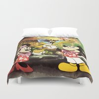 minnie mouse Duvet Covers featuring Mickey & Minnie Mouse In The Tiki Room by DisPrints