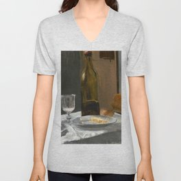Claude Monet - Still Life with Bottle, Carafe, Bread, and Wine Unisex V-Neck