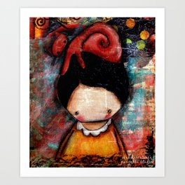 Cat Hat on Girl Art Print