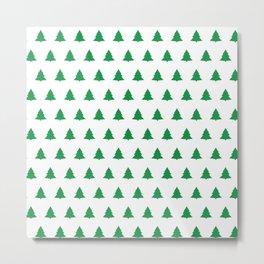 seamless green christmas tree pattern Metal Print
