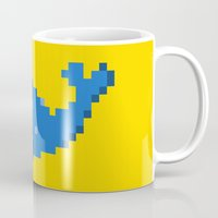 8 bit Mugs featuring 8-bit Seal by Ria Pi