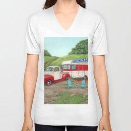 Patriotic Vintage Camper And Truck Unisex V-Neck