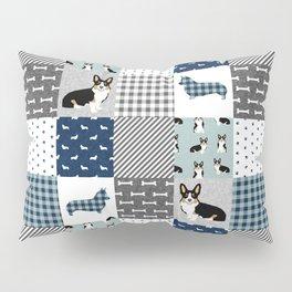 Tricolored Corgi Patchwork - classic buffalo plaid, plaid, dog dad, dog lover, dog design, cute dogs Pillow Sham