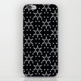 White on Black All Over Stars iPhone Skin