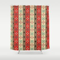 blanket Shower Curtains featuring Sioux Blanket by Robin Curtiss