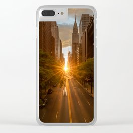 ManhattanHenge - sun setting along 42nd Street Clear iPhone Case
