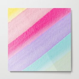 Colorful modern watercolor hand painted stripes Metal Print