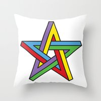 pentagram Throw Pillows featuring Impossible Pentagram by Stephen Kemmy Graphic Designer