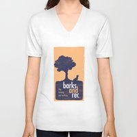 parks and rec V-neck T-shirts featuring Barks and Rec Logo by barksandrec