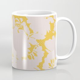 light floral silhouette on gold Coffee Mug