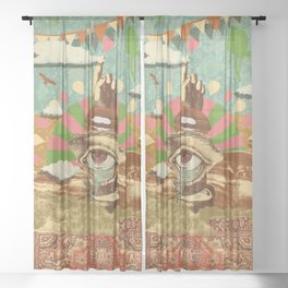 AFTERNOON PSYCHEDELIA Sheer Curtain