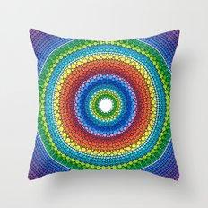 Happy Rainbow Mandala Throw Pillow