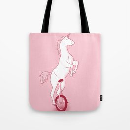 Unicorn on a unicycle - pink Tote Bag