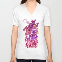 fnaf V-neck T-shirts featuring Five Nights at Freddy's by Camille Dion-Bolduc