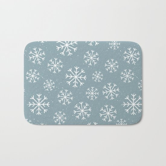 Merry Christmas Wintertime - Snowflakes pattern Bath Mat