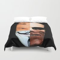 vendetta Duvet Covers featuring Hugo Weaving: King of the Nerds by IndifferentArts