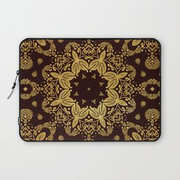 golden flowers on the brown background Laptop Sleeve
