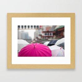 A Sea of Umbrellas Framed Art Print