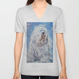Havanese dog art from an original painting by L.A.Shepard Unisex V-Neck