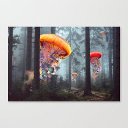 ElectricJellyfish Worlds in a Forest Canvas Print