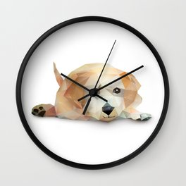 Low Poly Yellow Lab Wall Clock