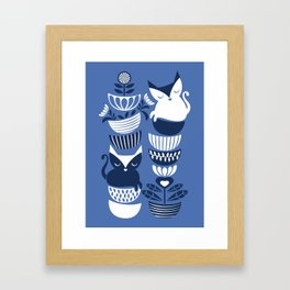 Swedish folk cats I // Indigo blue background Framed Art Print