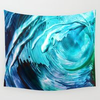 surfing Wall Tapestries featuring Surfing by ART de Luna