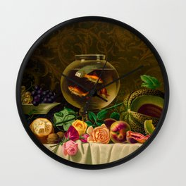 Goldfish in a bowl on a table with fruit and flowers Wall Clock