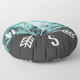 Turquoise Mountain Compass Floor Pillow