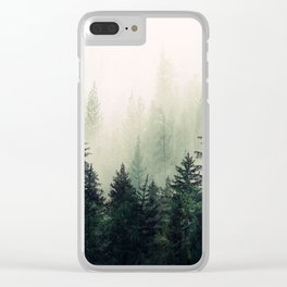 Foggy Pine Trees Clear iPhone Case
