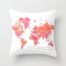 """Travel is the only thing you buy that makes you richer world map, """"Tatiana"""" Throw Pillow"""