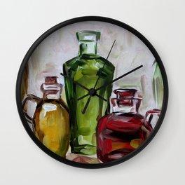 Still life, oil bottles, art, original painting Wall Clock
