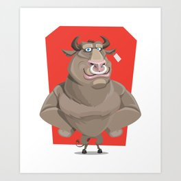 Angry Bull with Nose Piercing Vector Artwork Art Print