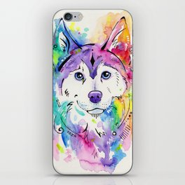 Happy - Siberian Husky Watercolor Art iPhone Skin