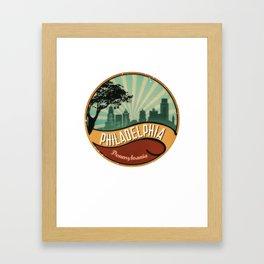 Philadelphia City Skyline Pennsylvania Retro Vintage Design Framed Art Print