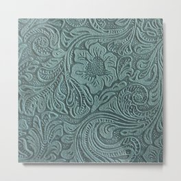 Turquoise Embossed Tooled Leather Floral Metal Print